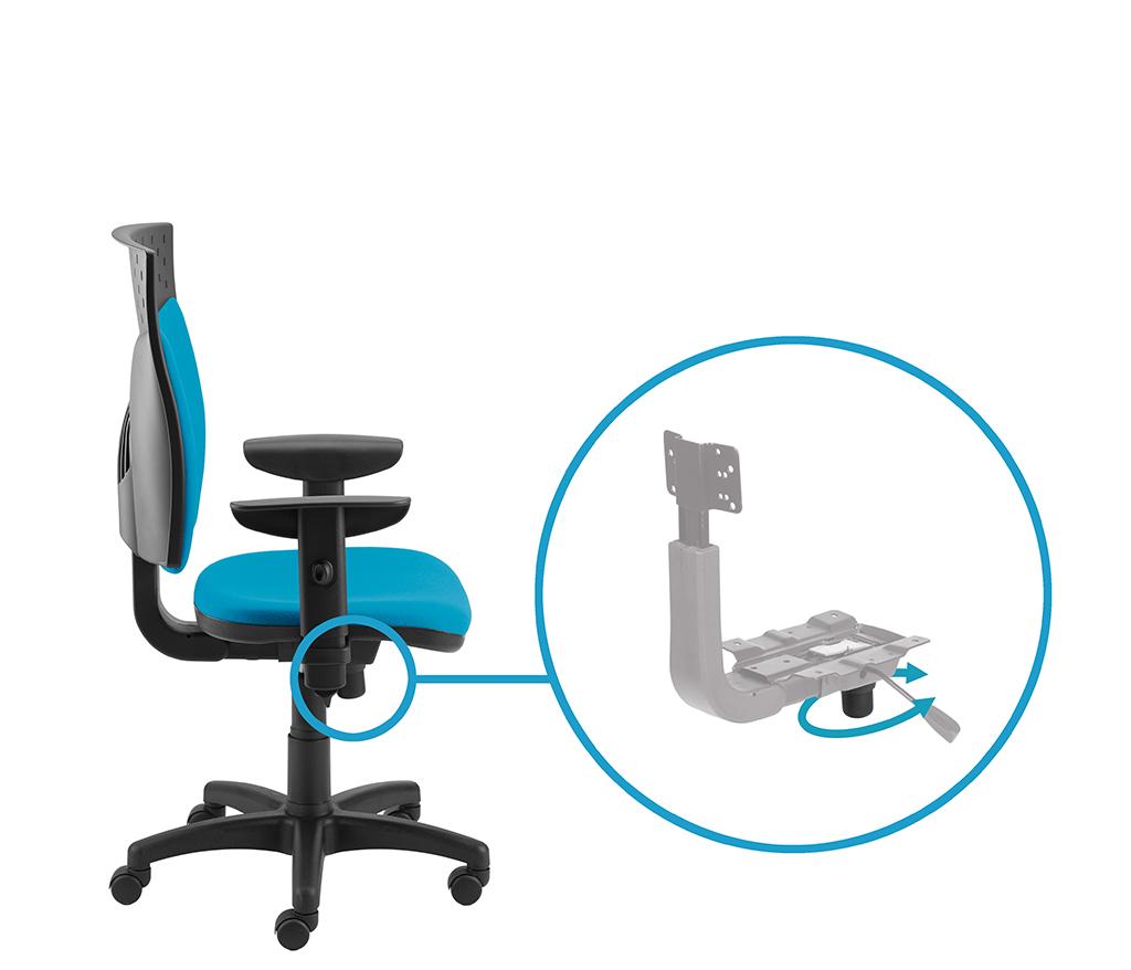 Regulacja natężenia za pomocą pokrętła dolnego – regulacja oporu odchylenia oparcia i siedziska