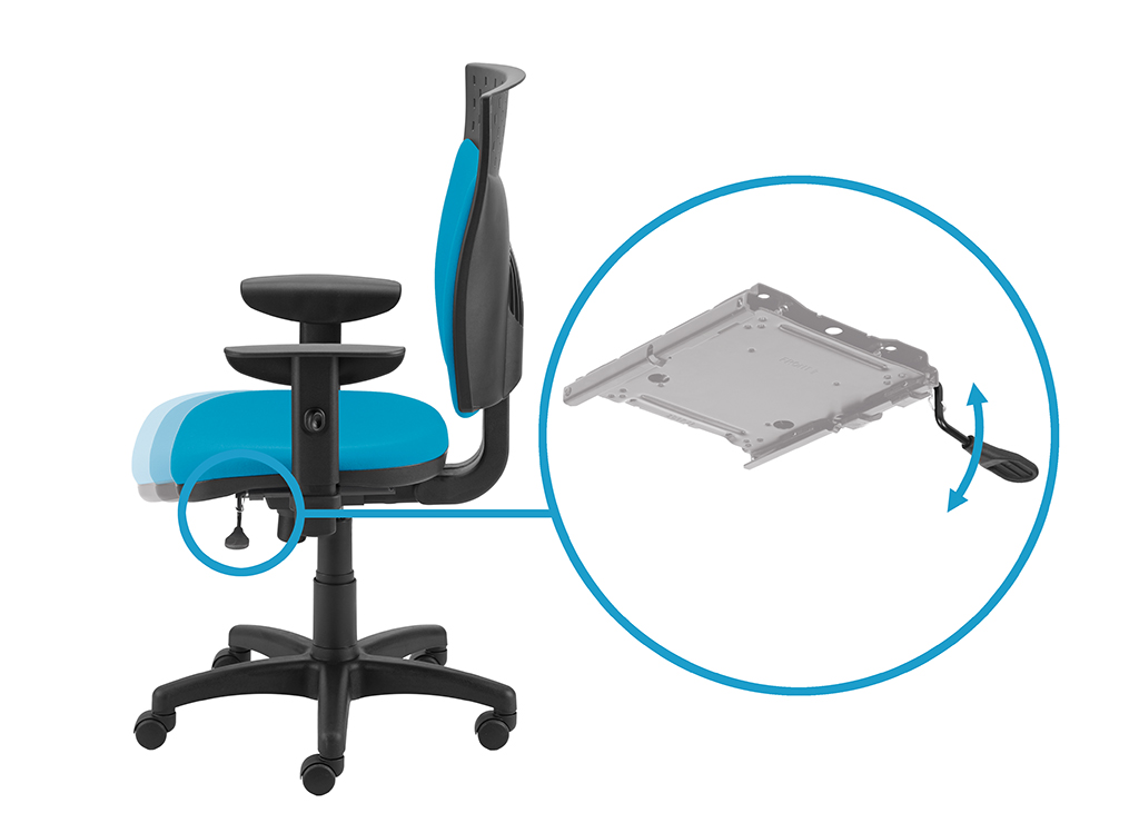 Przesuw siedziska regulujący głębokość siedziska z blokadą w 5 pozycjach za pomocą dźwigni