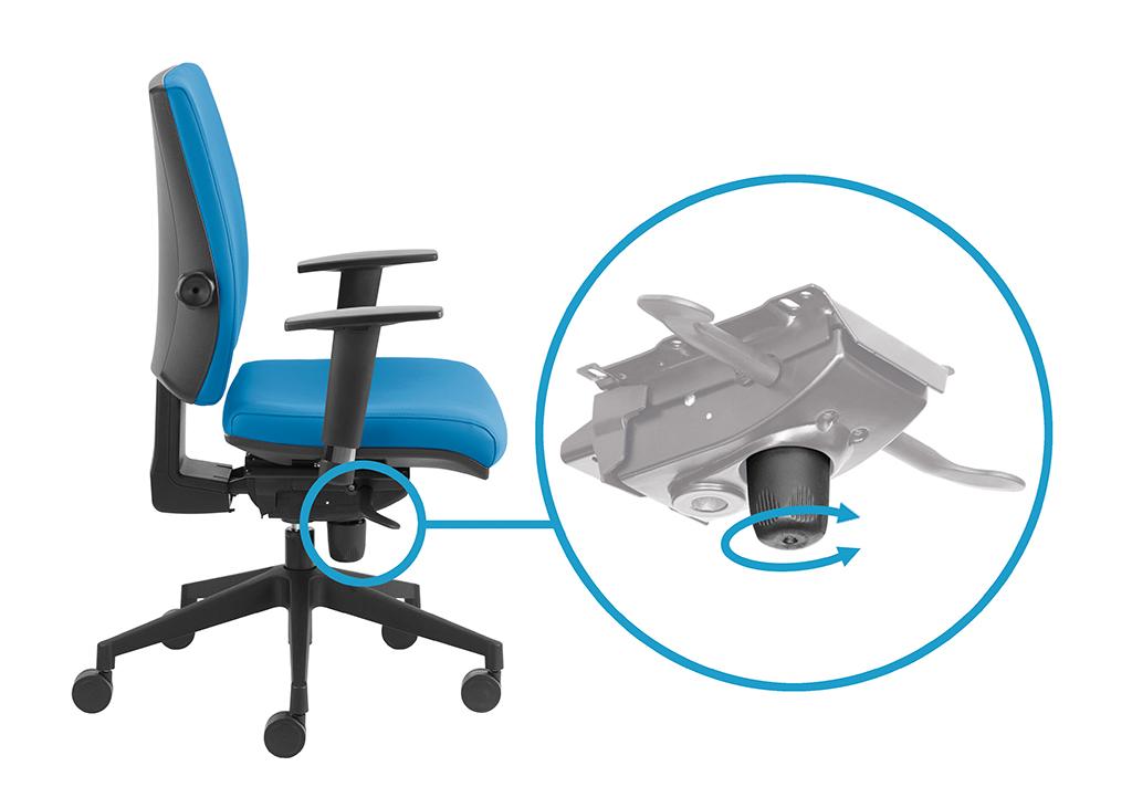 Regulacja natężenia za pomocą pokrętła dolnego – regulacja oporu odchylania oparcia i siedziska