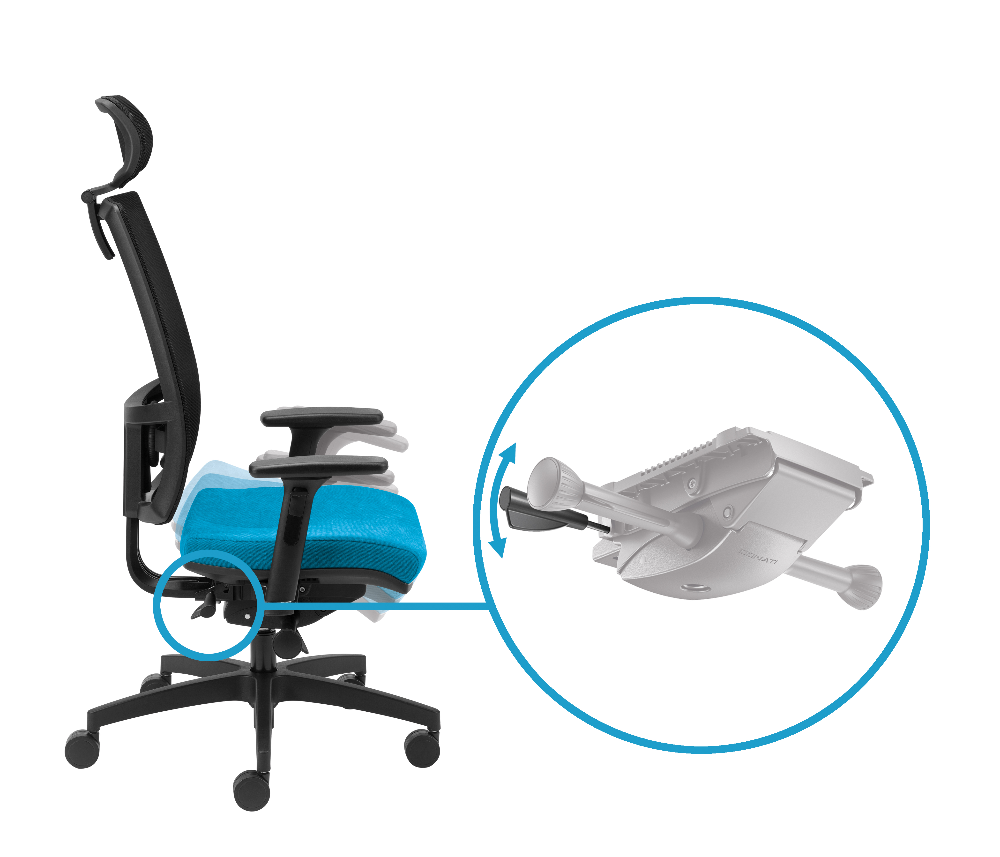 Regulacja kąta siedziska za pomocą prawej dźwigni