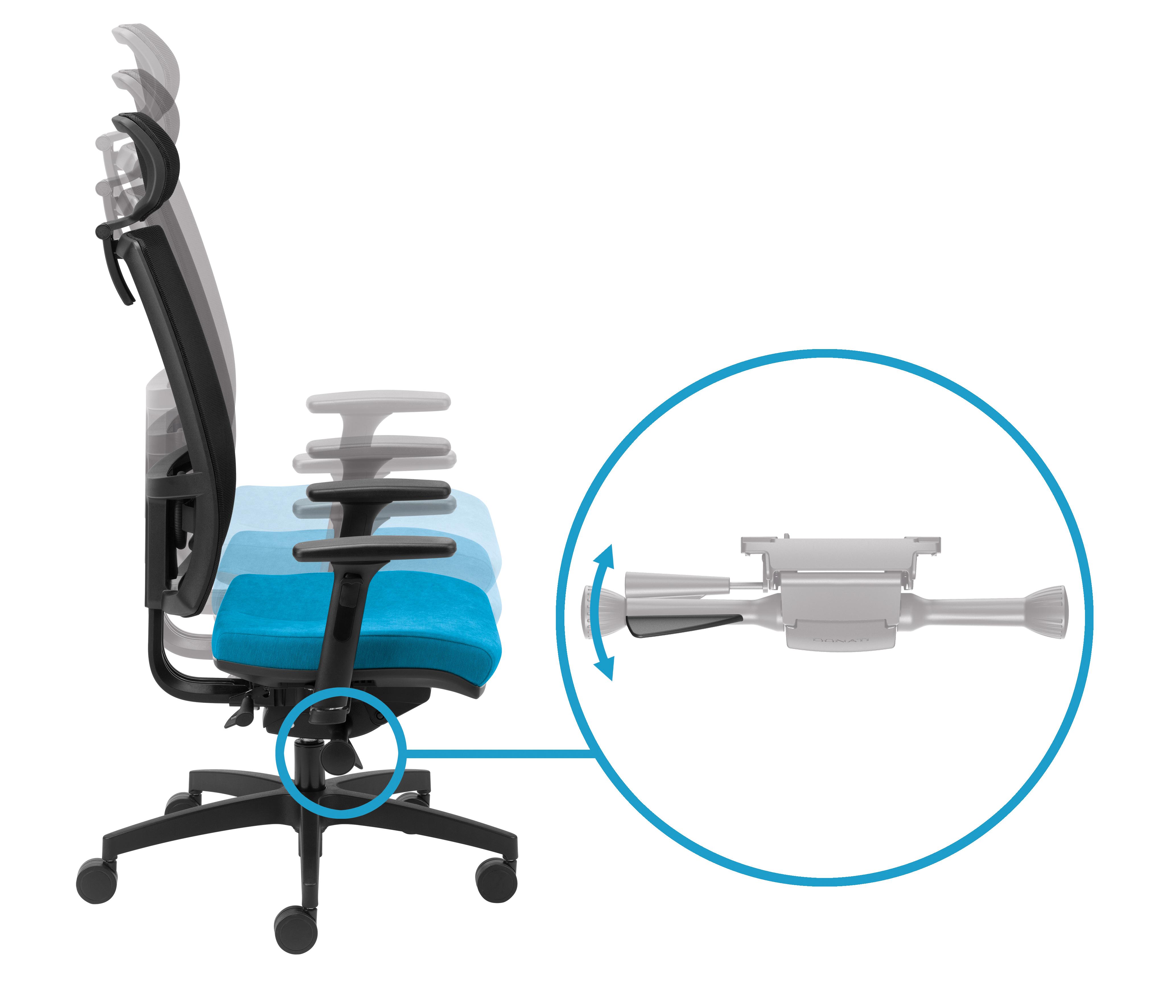 Regulacja wysokości siedziska za pomocą prawej dźwigni