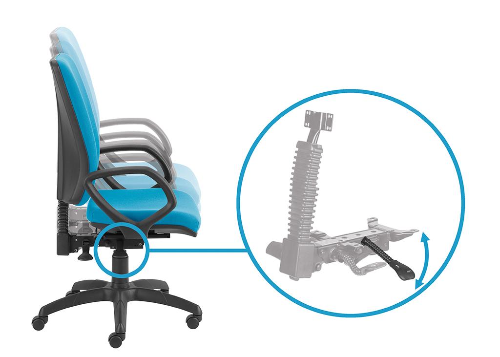 Regulacja wysokości siedziska za pomocą przedniej prawej dźwigni.