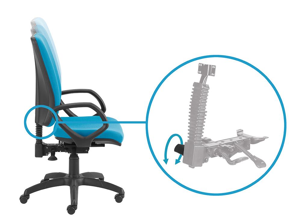 Zsynchronizowana regulacja kąta pochylenia oparcia i siedziska za pomocą lewej dźwigni - możliwość swobodnego kołysania się, możliwość blokady w wielu pozycjach.