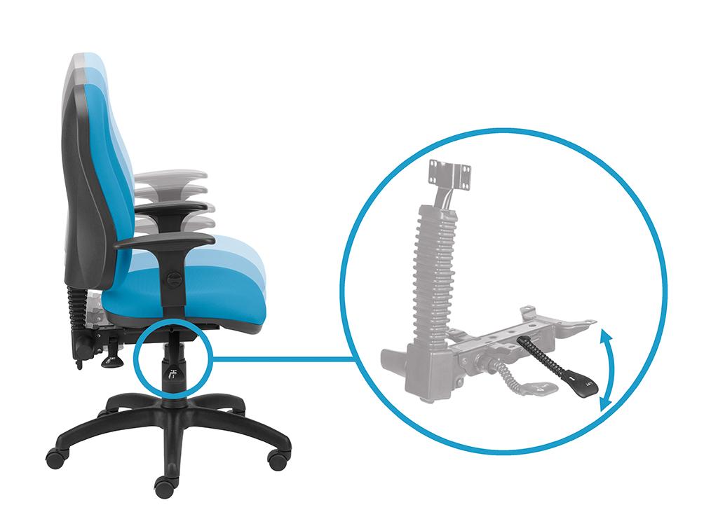 Regulacja wysokości siedziska za pomocą prawej dźwigni.