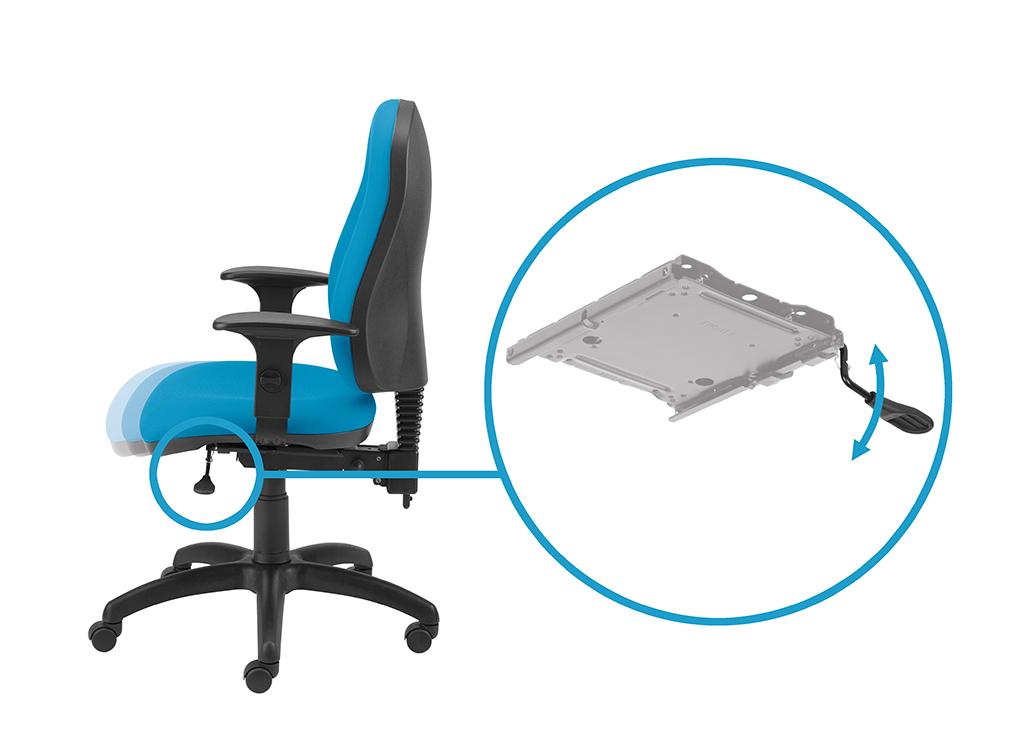 Przesuw siedziska regulujący głębokość siedziska z blokadą w 5 pozycjach za pomocą dźwigni.